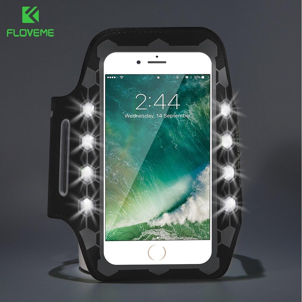Floveme светодиодной вспышкой повязки Универсальный телефон сумка 4.7 дюймов для iPhone 6 6 S 7 тренажерный зал мода для iPhone 7 6 6 s спортивный Браслет Д…