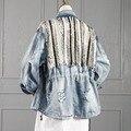 [Soonyour] 2016 paillette demin vaquero loose abrigo de mujer otoño invierno de la cremallera de manga larga aduld moda de nueva outwear ds1105