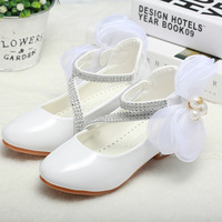 Fathion Big Pearl Bow Flower Girl PU Leather Shoes For Girls Party Dance Children Shoes Girls
