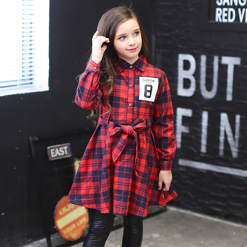 kids girls plaid dress long sleeve dress spring 2018 big girls autumn clothes child dresses size 4 5 6 7 8 9 10 11 12 13 14 15Y big girls dress spring floral printed girls party princess dress long sleeve kids clothes for girls 6 8 10 12 year girl dress