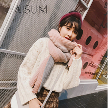Фотография Haisum Fashion Korean version Girls woollen Warm shawl scarf Winter Women Thick Knitted  scarf 8 color W034