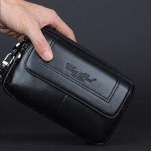 Hot Sale Genuine Leather Men Cell/Mobile Phone Case Bag Fashion Trend Clutch Wrist Hand Bags Fanny Belt Purse Pouch Waist Pack