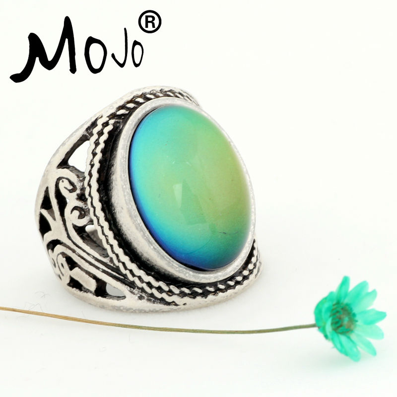 Mojo Vintage Bohemia Retro Color Change Mood Ring Emotie Gevoel Verwisselbare Ring Temperatuurbeheersing Ringen voor Dames MJ-RS019