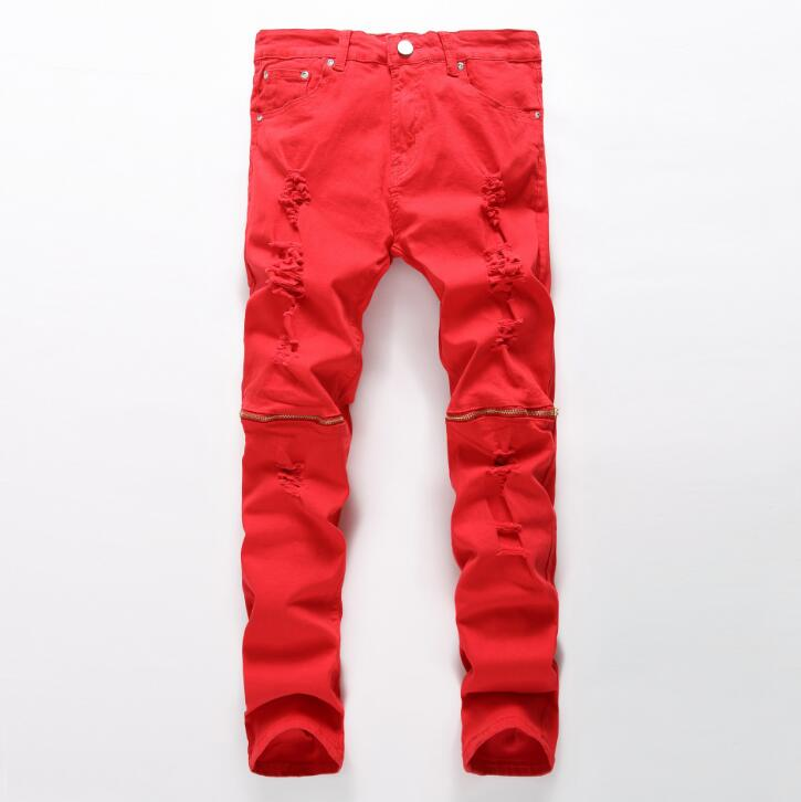 #3217 2016 Mens biker jeans Ankle zipper jeans Fashion ripped jeans for men Punk Red distressed jeans with holes Fashion Skinny