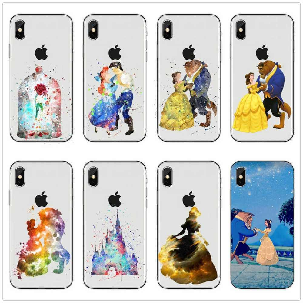 Beauty Beast Rose Princess HARD PC Phone Case COVER Coque Fundas For iPhone 7 7Plus 6 6S Plus 8 8plus 5 5S SE XR X XS Max
