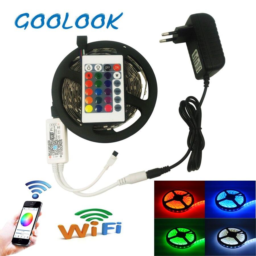 Светодиодные ленты света RGB 5050 SMD 5 м 10 м светодиодный ленты Водонепроницаемый RGB Светодиодные ленты Клейкие ленты + DC 12 В адаптер + 24key Wi-Fi конт...
