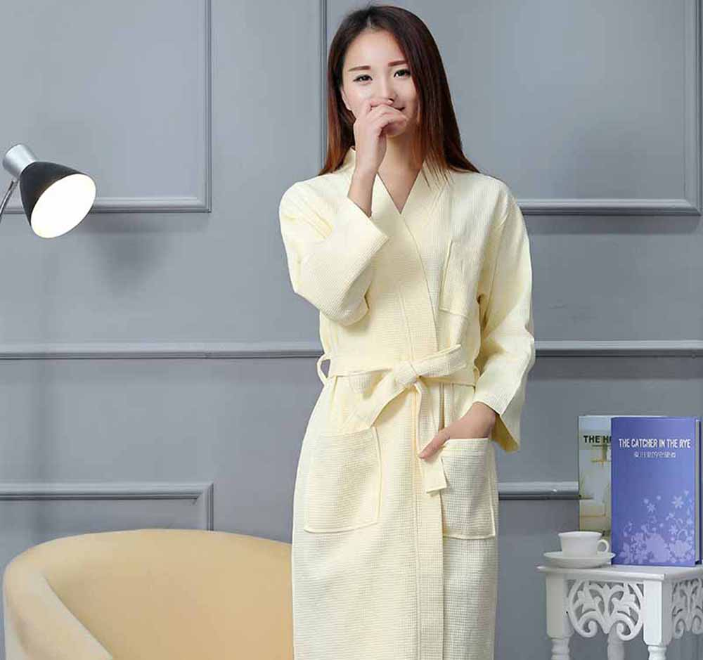 Free shipping mens and womens cotton Bathrobe kimono hotel bathrobe spring and summer Waffle sweat evaporate couples bath robe