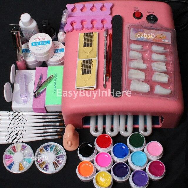 Pro 25 in 1 Nail Art 36W UV Lamp Tube Dryer Soild Color UV Gel Tips Full Tools Kit Russia