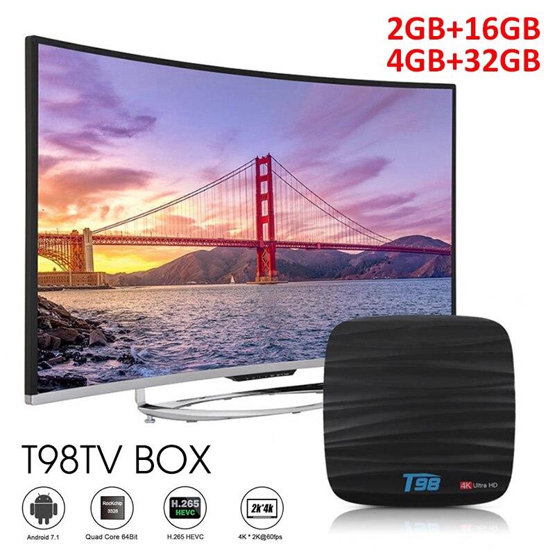 T98 Android 9.0 Mini TV Box RK3328 4 GB + 32 GB Wifi 2.4g avec Bluetooth Smart TV Box 4G carte SIM HD 6 K pour lecteur multimédia intelligent
