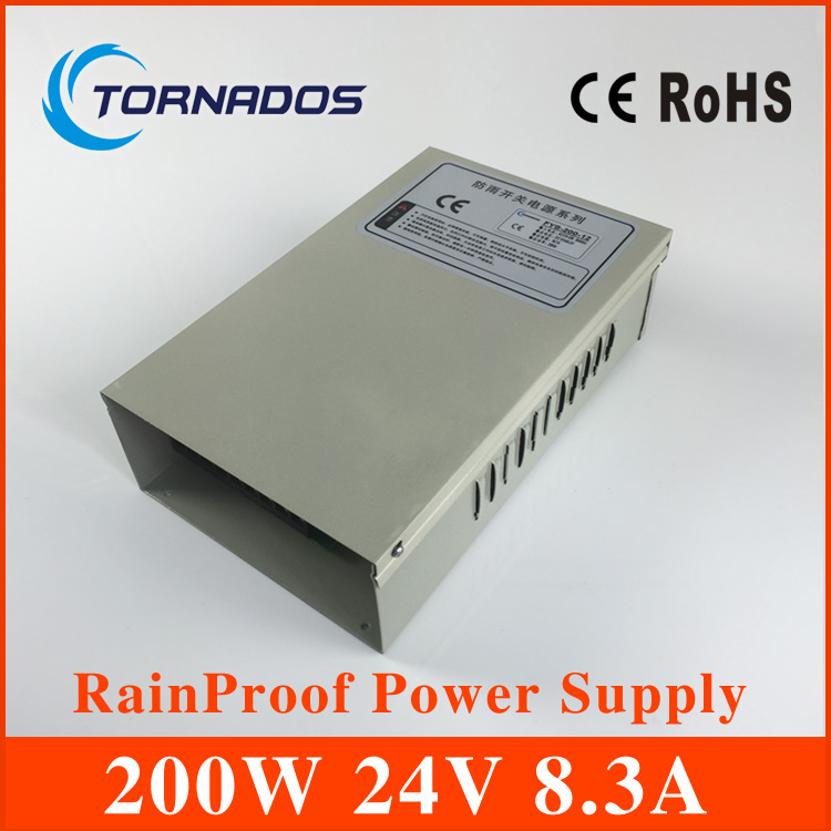 200W 24V 8.3A Rainproof outdoor Single Output Switching power supply smps AC TO DC for LED
