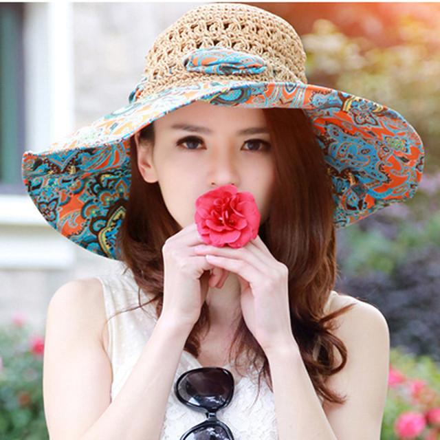 Sol HatsKorean de Verano Uv Sombrero para el Sol Al Aire Libre Señora Grande Fresco de Playa Sombrero de Paja A Lo Largo de La Playa