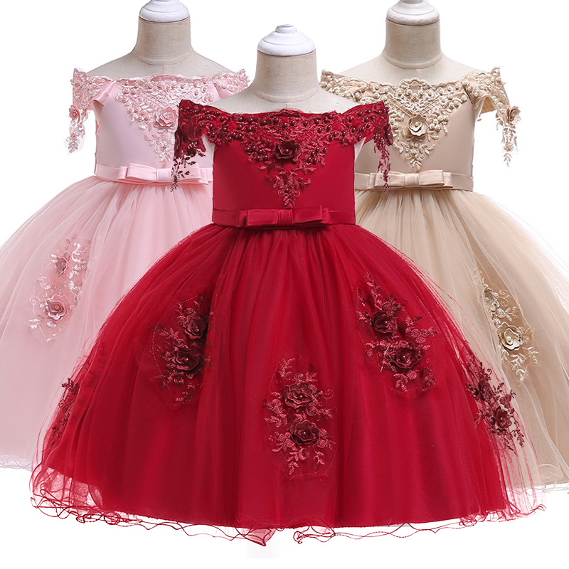 New Year   Dress   3D Rose   Flower     Girls     Dresses   Baby   Girl     Dress   Christmas Party Ball Gown   Dress   Baby   Girls   Clothes Short Sleeve