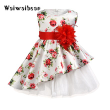 New Summer Kids Dress Sleeveless Floral Child Ball Gown Dress  Kids Wedding Or Party Dresses  Children Clothes For Girls цена