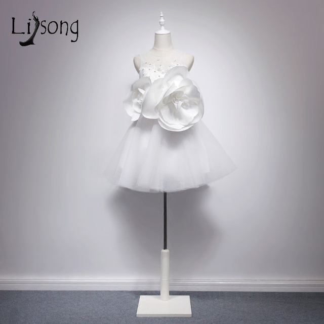 Dynamische 2017 Mini Brautkleider Handgemachte 3D Blume Spitze ...