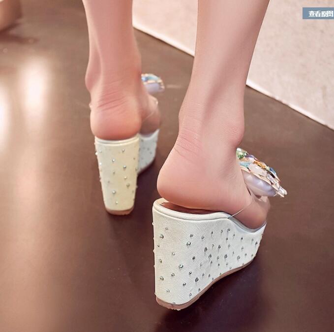 ФОТО Women 2016 Summer New Open The Toe Crystal Trifle Slippers Waterproof Taiwan Wedges High Heel Sweet Bowtie Fashion Sandals