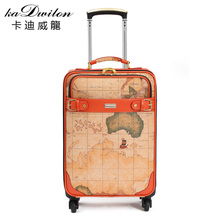 Vintage commercial trolley luggage travel bag universal wheels world map bags luggage,16 20 22inches retro luggage bags