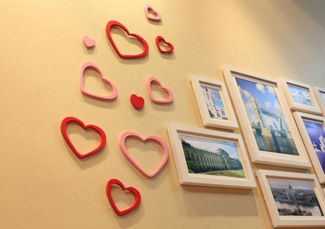 5pcs/set Wooden Heart Shape 3D Three dimensional Wall Stickers ...