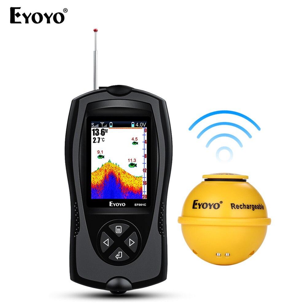 Eyoyo EF001C Беспроводной Sonar Рыболокаторы 45 м глубина воды 2,4 Цвет ЖК-дисплей Перезаряжаемые Портативный эхолот с привлекательный лампы