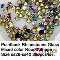 Fantasia Pointback Strass Material de Vidro Redonda 288 pcs ss26-ss40 Cor Misturada Pointback Strass Perfact Pedras Para Decoração de DIY