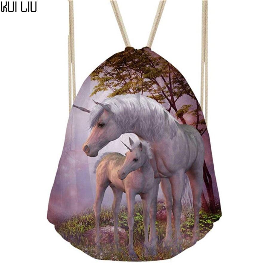 Customized Horse Women Mochila Small Female Drawstring Bag String Sport Bags For Fitness Kids Girls School Bag Cinch Sackpack