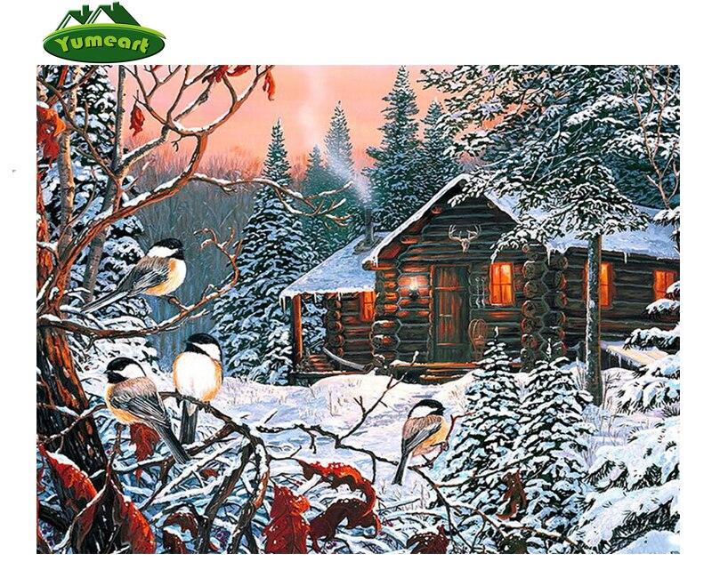DIY 5D Resin Diamond Painting Cross Stitch snow birds pattern rhinestone Diamond embroidery Mosaic winter scenery Picture Craft