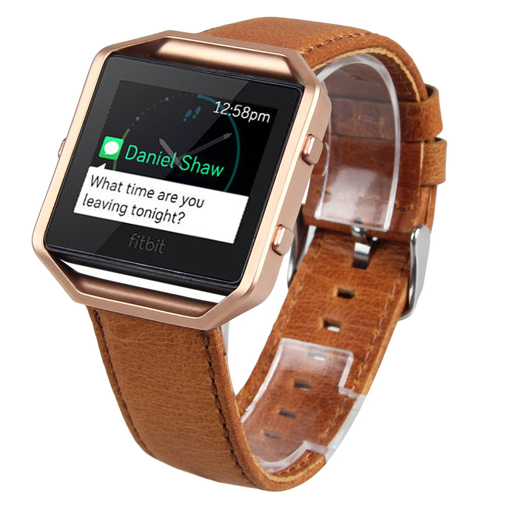 V-MORO Genuine Leather Fitbit Blaze Band +Metal Frame 2 in 1 Watch Wrsit Strap for Fitbit Blaze Accessory Band Brown Coffee fitbit blaze band large metal frame housing