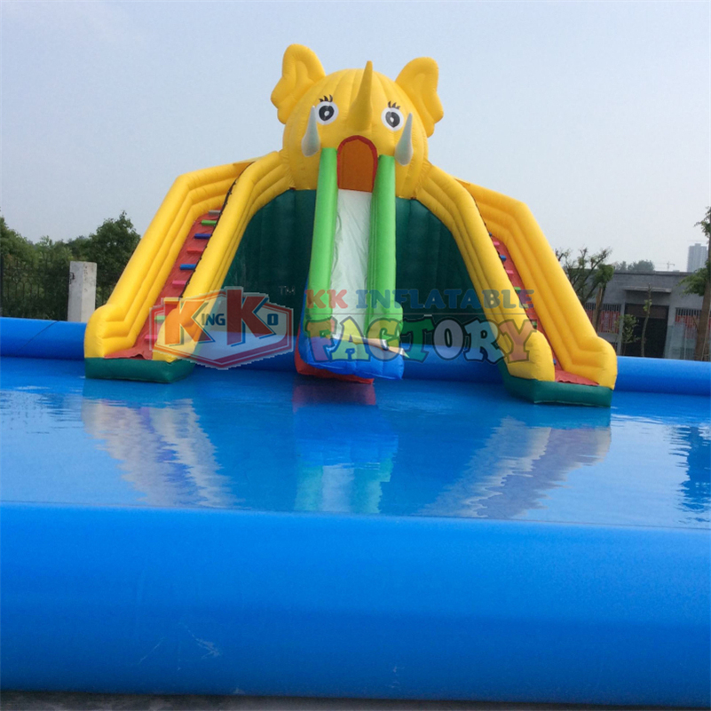 China Inflatable Water Park manufacturer KK water playground big slide with pools
