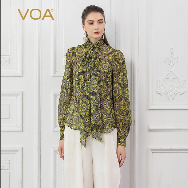 VOA soie Georgette Blouses lanterne à manches longues ruban noeud Rococo Lolita dames hauts automne imprimer chemise de base grande taille B825