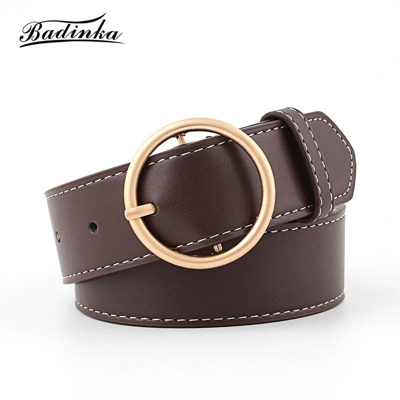 Badinka 2018 New Ladies Gold Silver Round Circle Belt Womens Designer Wide Black Genuine Leather Waist Belts for Women Jeans