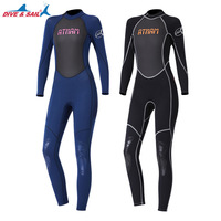 3mm Neoprene+Shark Skin Full Suit for Winter Swimming One Piece Body Suit Wetsuit High Elastic Surf Swimsuit Dive Suit Women
