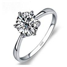 AEotaku Simple Elegant 6 Claws Cubic Zirconia Crystal 925 Sterling Silver Rings for Women Bridal Wedding Ring Jewelry