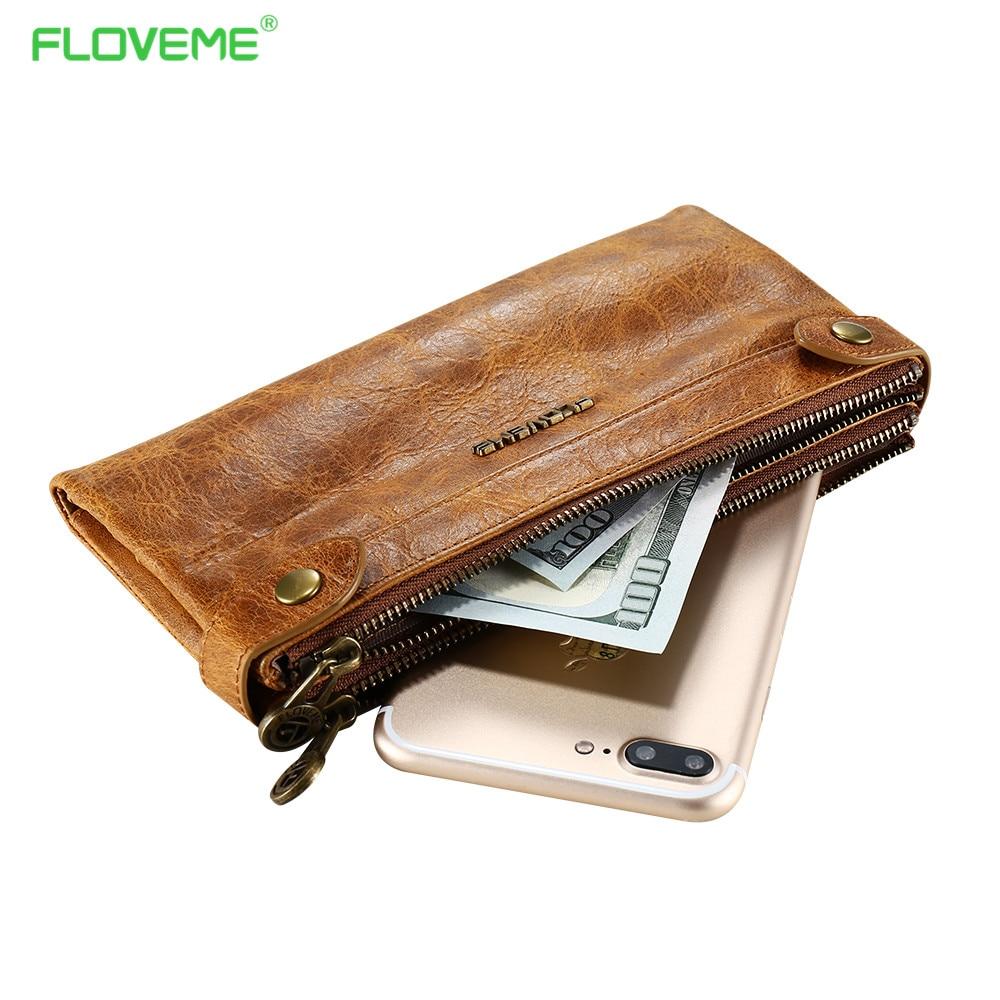imágenes para Floveme bolsa del teléfono del cuero genuino wallet case para iphone 7 6 s además de para samsung s7 s6 edge doble cremallera de la vendimia flip case conchas