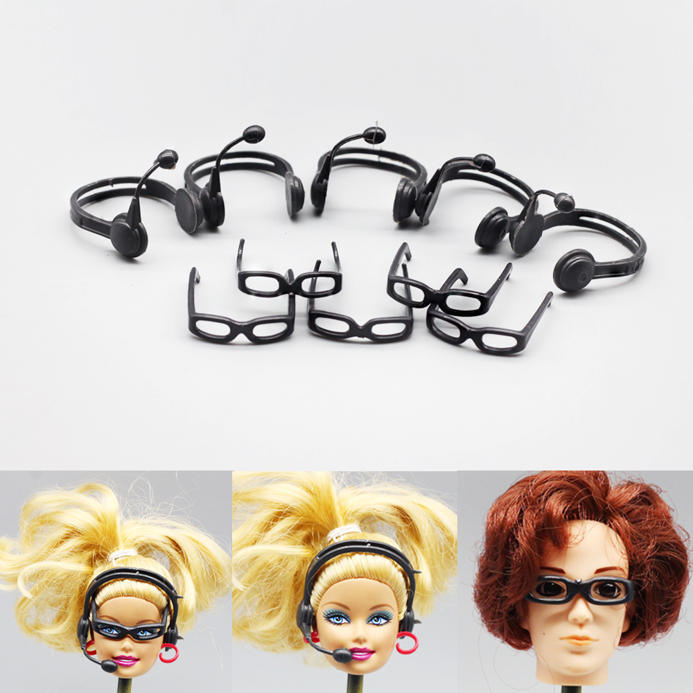 10pcs lot Fashion Plastic Headset microphone With glasses accessory For barbie doll Accessories Glasses Earphone Best