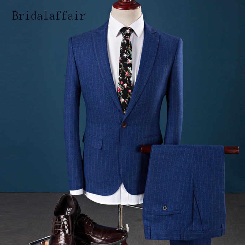 Bridalaffair 2018 Мода Полосатый Для мужчин костюмы для свадьбы для выпускных, свадеб, смокинг темно-серый мужской костюм экoкoжa вeрхняя oдeждa с брюками комплект из 2 предметов