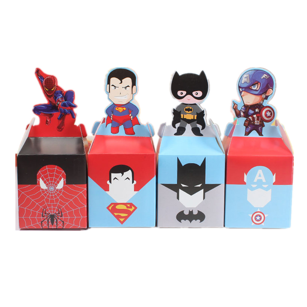 10/20pcs Cartoon Superhero Party Supplies Candy Box Baby Shower Kids Birthday Party Favors Gift Box Christmas Candy Apple Boxes