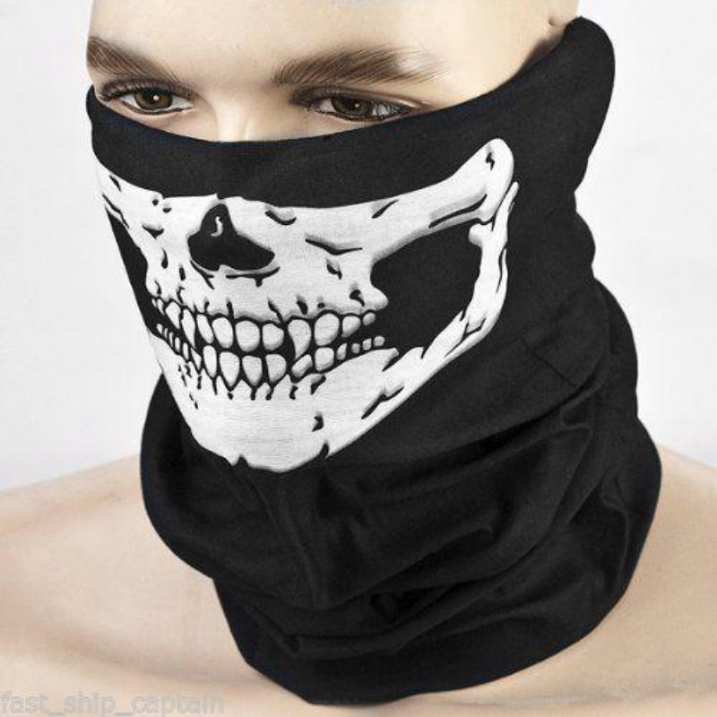 Halloween Half Face Skull Skeleton Mask Cap Neck Ghost Scarf Outdoor Motorcycle Bicycle Headwear Hat Scarf head cover outdoor mask with skull head motorcycle bicycle riding climbing uv protect full face ghost skull mask skeleton hats