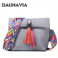 DAUNAVIA Brand Women Messenger Bag Crossbody Bag tassel Shoulder Bags Female Designer Handbags Women bags with colorful strap