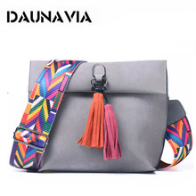DAUNAVIA Brand Women Messenger Bag Crossbody Bag tassel Shoulder Bags Female Designer Handbags Women bags with colorful strap(China)