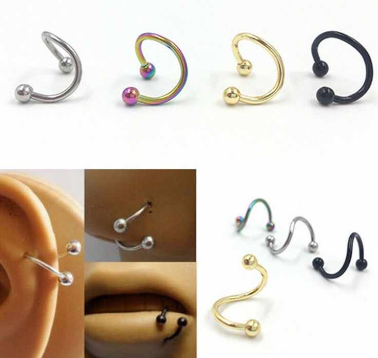 1pc 16G Ball Steel Anodized S Double Spiral Barbell Earring Ear Cartilage Helix Lip Rings Tragus Piercing Body Jewelry women men