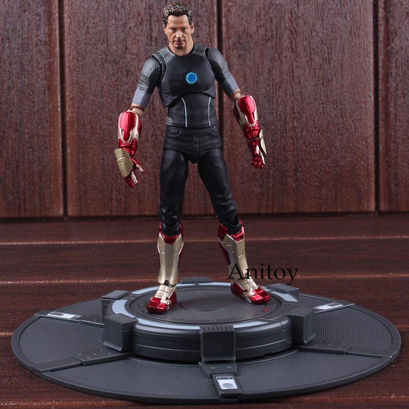 SH Figuarts Marvel Figurine Iron Man Tony Stark with Tony's Powerd Stage PVC Iron Man Collectible Figurines Model Toy iron man 3 tony stark mk4 mk42 mk6 light