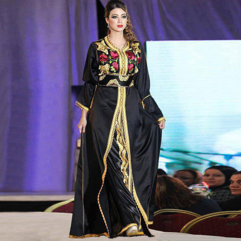 Elegante Caftán Árabe Dubai Vestidos de Noche 2017 Negro Con Cuentas ...