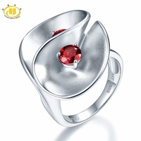 Hutang Garnet Floral Wedding Ring Solid 925 Sterling Silver Natural Gemstone Fine Stone Jewelry Best Birthday Gift Unique Design