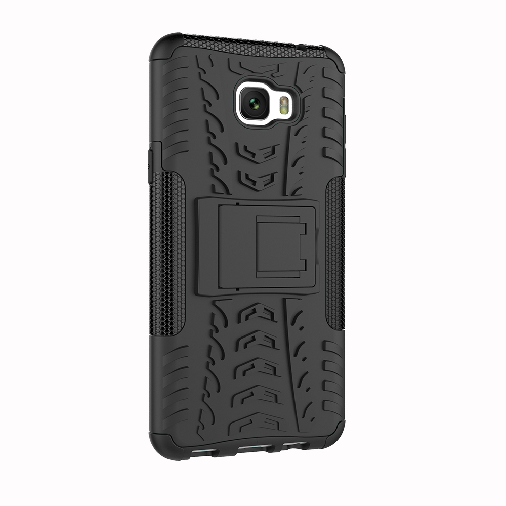Heavy Duty Armor Shockproof Stand Case For Samsung Galaxy C7 Pro C7Pro C7010 SM C7010 PC Plastic Soft TPU Silicone back Cover in Half wrapped Cases from Cellphones Telecommunications