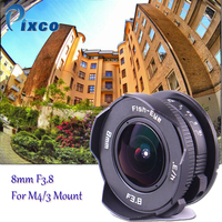 8mm F3.8 fisheye Lens C mount Lens Wide Angle Fish eye For Micro Four Thirds Camera M43 for LUMIX GX8 GX85 G7 E M5 E M10II E PL8