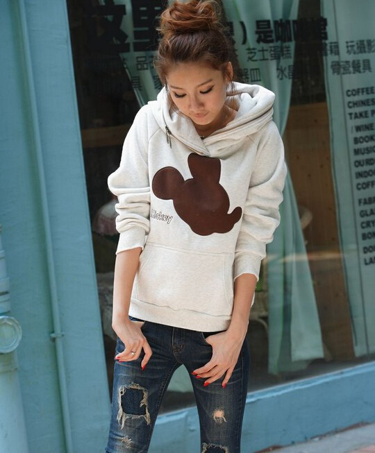 Aescondo New 2017 Spring Fashion Mickey Embroidered Hoodies Sweatshirts Woman Cartoon Hooded Sweat Suit Sudaderas Mujer Moleton