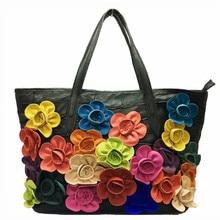 ФОТО luxury soft genuine leather handbags women bags designer color matching flower package shoulder bags girl hobo bags sac a main