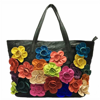 Luxury Soft genuine leather handbags women bags designer Color matching flower package shoulder bags Girl hobo Bags sac a main