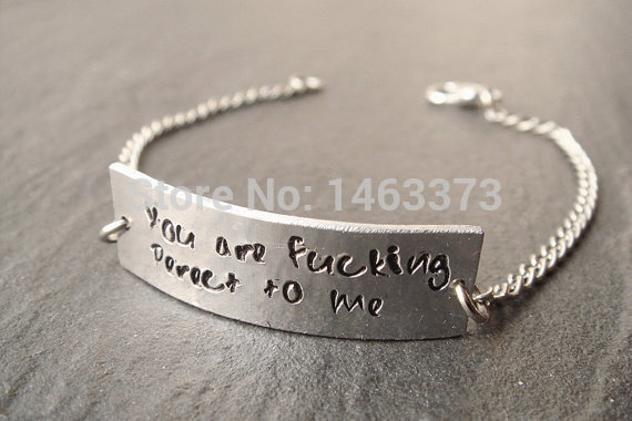 Customized Uni Quote Bracelet Hand Stamped Single Personalized Jewelry Anniversary Birthday S Friendship Gift In Id Bracelets From