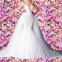 Nouveau Design Blanc Tulle Appliques Sirène Haute Taille De Mariage Robe 2 Pièces Dos Nu Femmes Custom Made Mariée Formelle Maxi Robes
