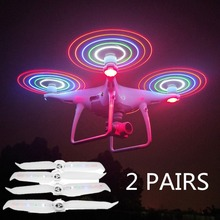 HOBBYINRC 2Pairs Glow 4.2V LED Propellers 9455S Blades Paddle for DJI PHANTOM 4 PRO V2.0 Drone 5 LED Colors
